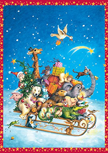 Coppenrath Unique Traditional Advent Christmas Calendar - Premium Made in Germany - Christmas Sleigh filled with Animals