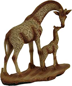 Zeckos A Mother's Love Giraffe and Calf Wood Finish Statue