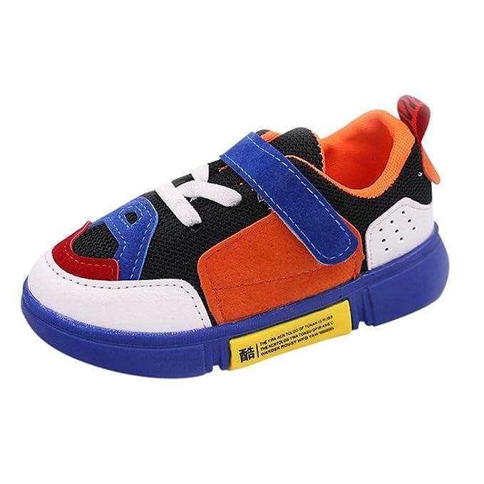 YanHoo Zapatos para niños de los niños de Malla de Costura Color Transpirable Zapatos Deportivos Zapatillas Deportivas Colores Mezclados Parche Malla ...