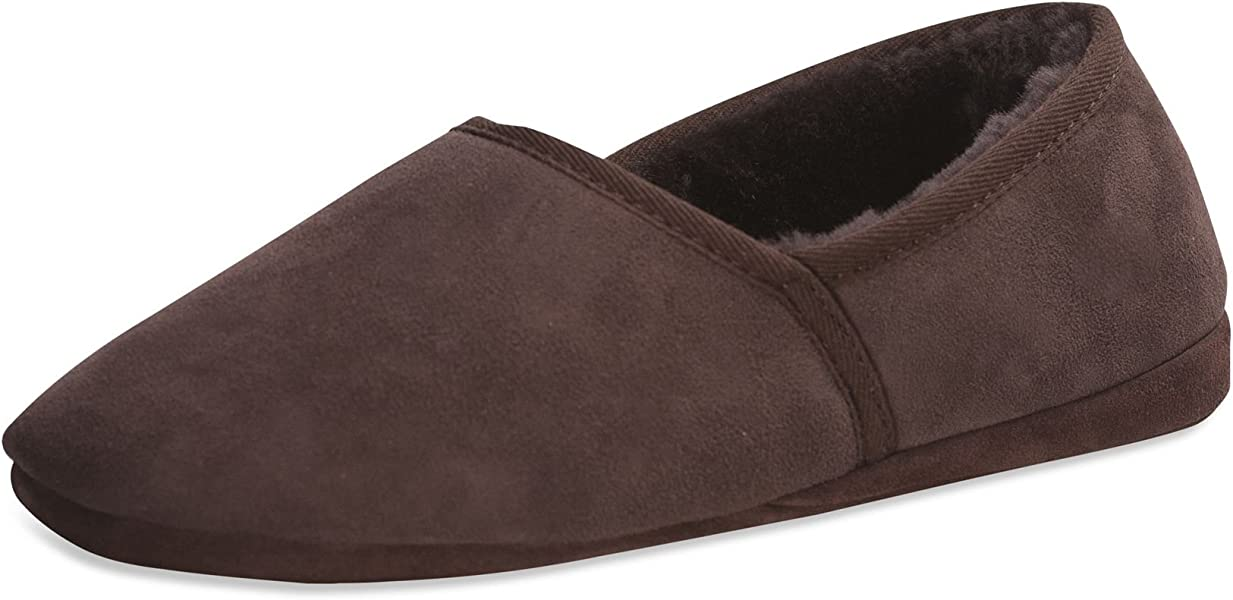 e03d5e3bba85 Sheepskin Slippers Mens - Made from One Piece - Soft Suede Sole   461-100