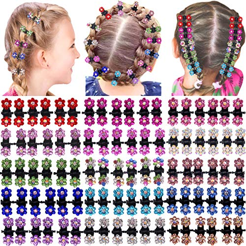 90 Pieces Baby Girls Hair Claw Clips Crystal Rhinestones Tiny Hair Clips Mix Colored Flower Hair Bangs Pin for Kids Women Hair Accessories (6 X15 Colors) (Colored Hair Claws)