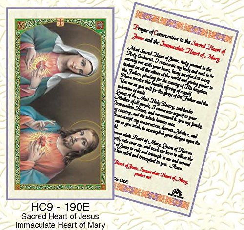 (Sacred Heart of Jesus & Immaculate Heart of Mary Laminated Prayer Cards - Pack of 25 - HC9-190E)