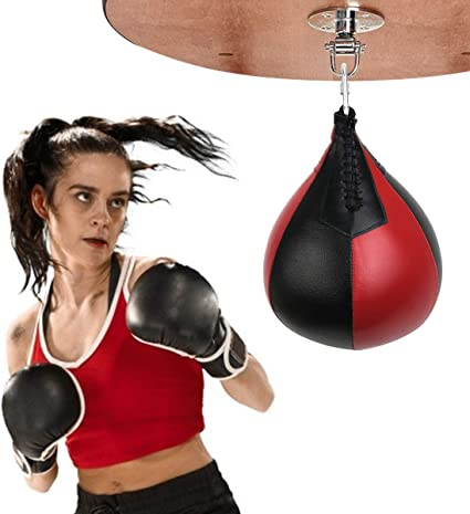 PU Leather Punching Bag Training Fitness Double End Boxing Speed Ball Punch Bag