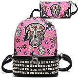 Sugar Skull Halloween Punk Biker Backpack Bookbag Girl Shoulder Bag Wallet Set (Pink)