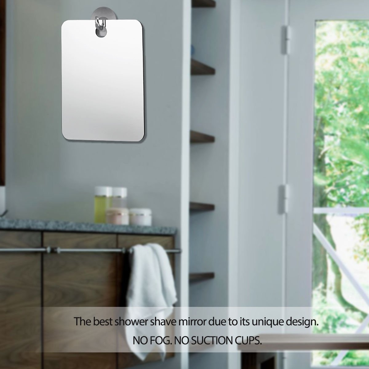ade_best Bathroom Makeup Reflection Glass Shower Shaving Mirror with Anti-fog No Suction Cups