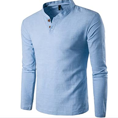 cc68e1caafc6 Linen Fashion 2018 Mens Casual Polo Linen Shirt Slim Fit Button V-Neck Long  Sleeve Tops Tee T-Shirt: Amazon.co.uk: Clothing