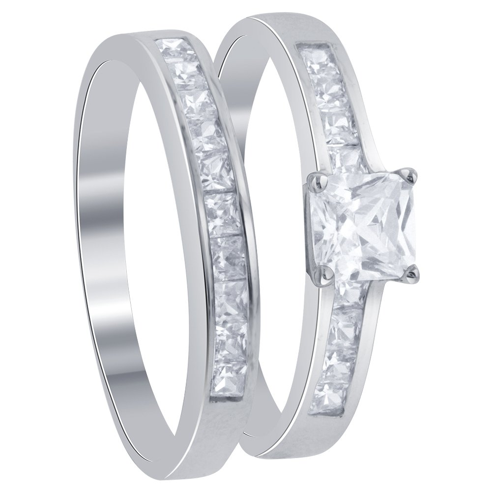 Gem Avenue 925 Sterling Silver Princess Cut Clear Cubic Zirconia Solitaire with accents Engagement Ring Wedding Band Set