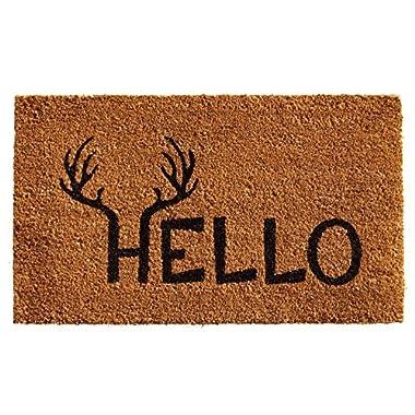 Home & More 121711729 Antler Hello Doormat, 17  x 29  x 0.60 , Natural/Black