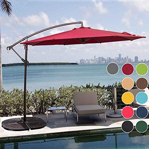 Sundale Outdoor 10 Feet Aluminum Offset Patio Umbrella with Crank and Cross Bar Set, Cantilever Umbrella for Deck, Garden, Backyard, 8 Steel Ribs, 100% Polyester Canopy Shade (Burgundy) (Umbrellas Deck Large)