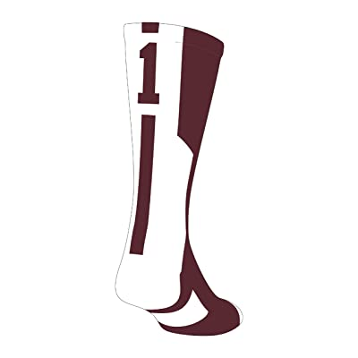 TCK Player Id Maroon/White Custom Number Crew Sock