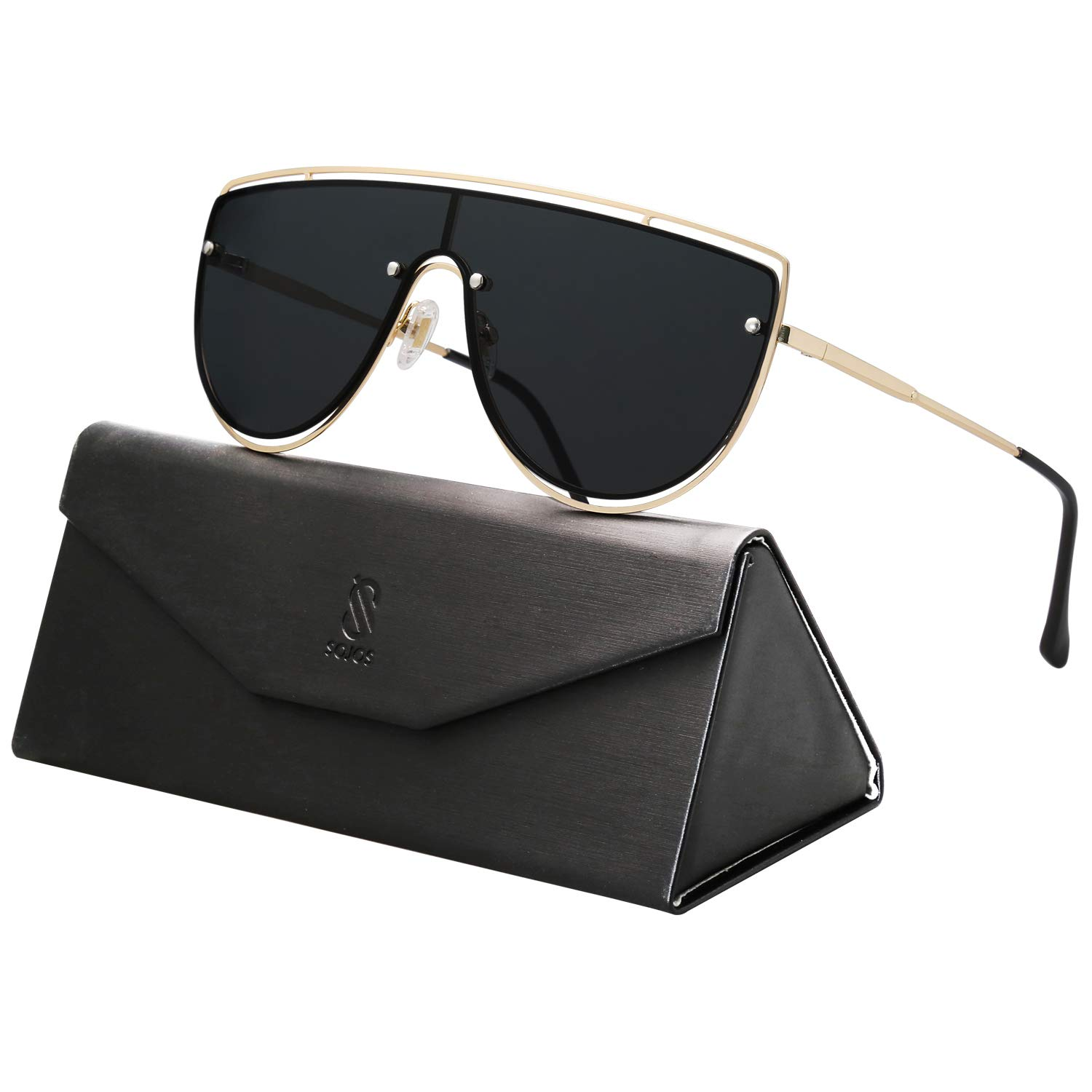 SOJOS Oversized One-piece Shield Sunglasses for Men and Women Mirrored Lens BLUESKY SJ1098 with Gold Frame/Grey Lens by SOJOS