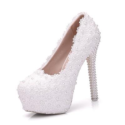 5.5'' Heel Lace Pearl Women Bridal Wedding Shoes Party Pumps Plus Size 9.5
