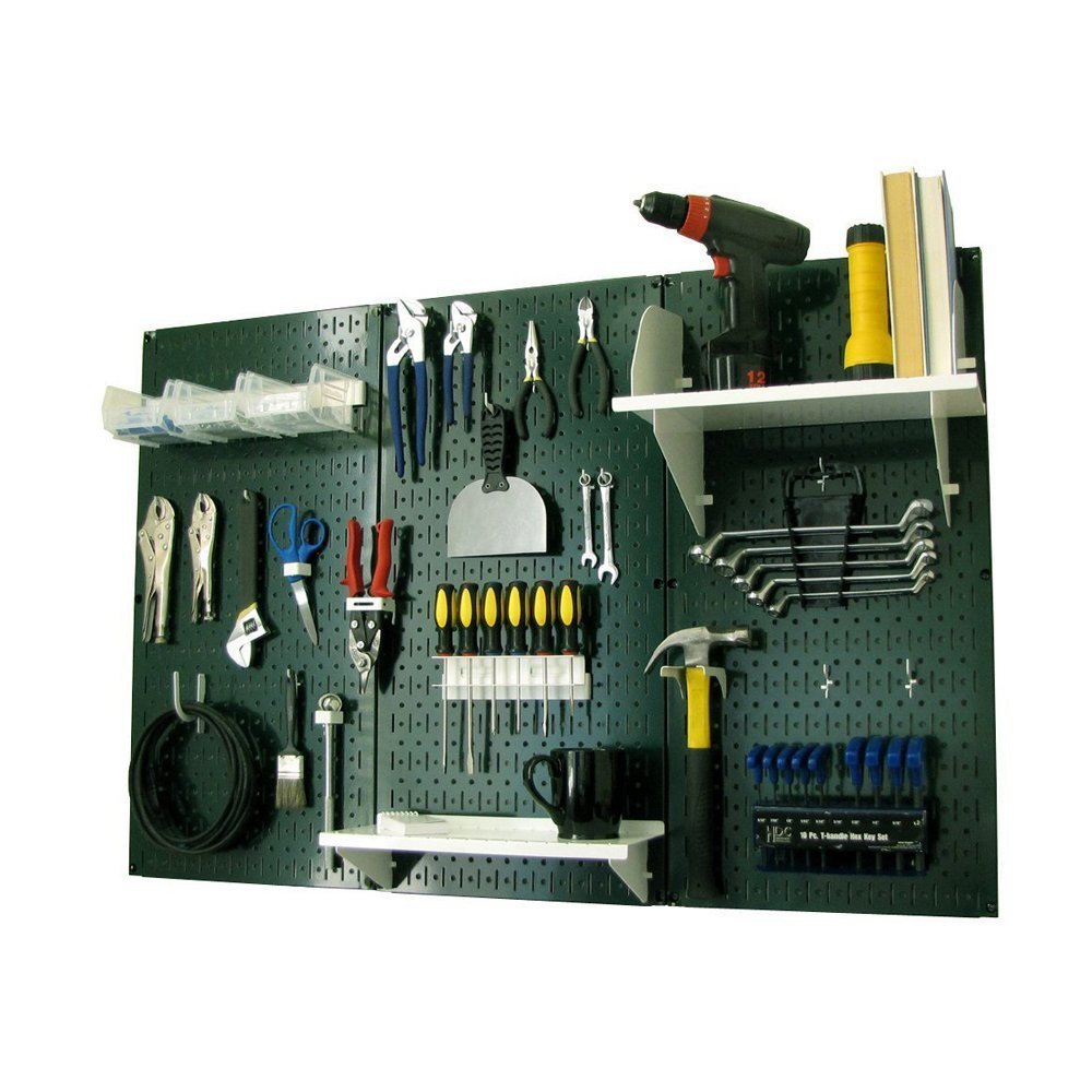Wall Control Pegboard Standard Tool Storage Kit, Green/White