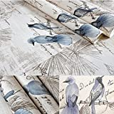 BESTERY Self-adhesive Vintage Blue Birds Wallpaper furniture Remake stickers PVC Backsplash cabinets Contact Paper,17.7in X 118in (Blue)
