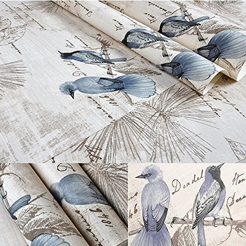 BESTERY Self-adhesive Vintage Blue Birds Wallpaper furniture Remake stickers PVC Backsplash cabinets Contact Paper,17.7in X 118in (Blue) by BESTERY