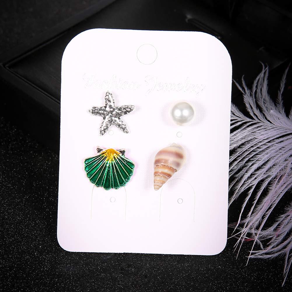 4Pcs//Set Summer Beach Starfish Seashell Imitation Pearl Ear Stud for Women Girls Jewelry Charms Polytree Earrings