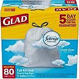 Glad OdorShield Tall Kitchen Drawstring Trash Bags, Fresh Clean, 13 Gallon, 80 Count (Packaging May Vary)