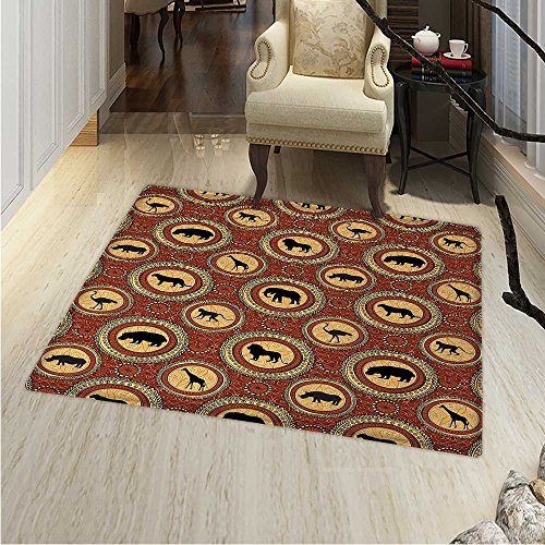 Safari Dining Room Home Bedroom Carpet Floor Mat African Ethnic Medallion Pattern Monkey Giraffe Elephant Lion Rhino Non Slip Rug 5'x6' Mustard -