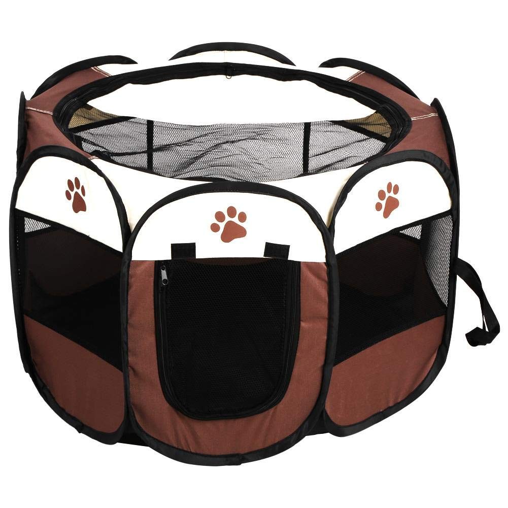 Pet Tent, Mesh Dog Cage Playpen Exercise Fence Kennel Soft Crate Foldable Oxford Cloth Compatible Indoor Outdoor Traveling Use
