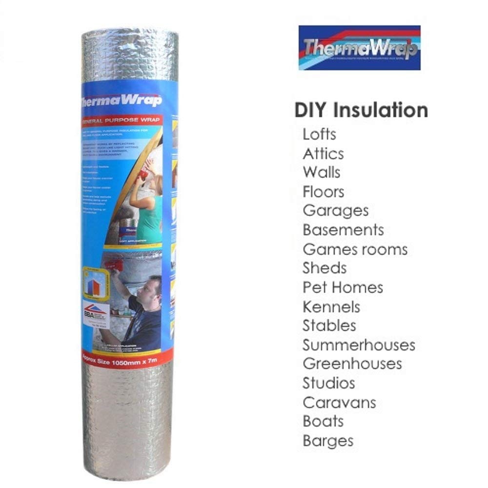 ThermaWrap 1500mm x 7.5m x 3.8mm Insulating Wrap Easy Install Bubble Foil Insulation Ideal for Attics, Lofts, Floors, Sheds, Caravans, Boats, Greenhouses, Pet Homes and Garages- High Quality Aluminium Foil Reflective Layers for Maximum Heat Retention and E