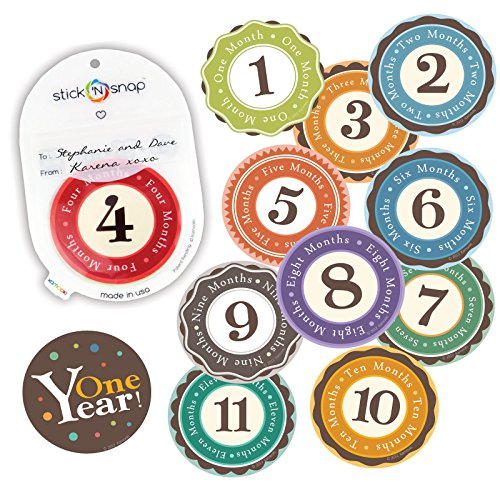 Original Stick'Nsnap(TM) 12 Unisex Happy Colors (TM) milestones First Year Monthly Growth Stickers, with re-sealable Pouch. 3.25'', Great