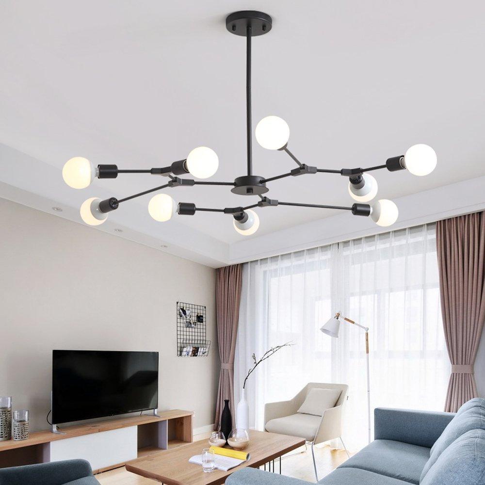 Lingkai Industrial 9-Light Chandeliers Multi-Adjustable Chandelier Lighting Black Sputnik Kitchen Island Lighting