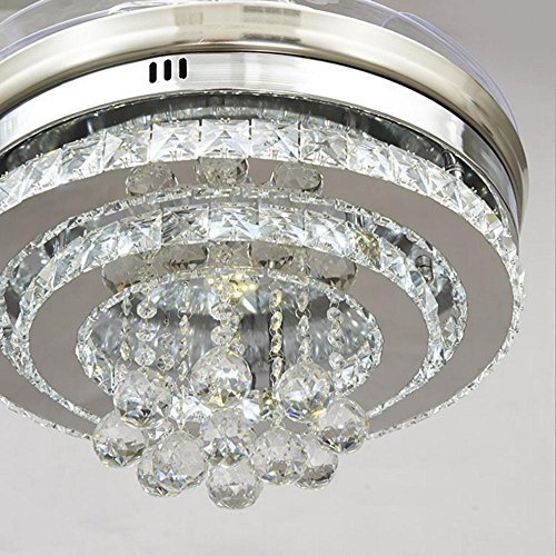 KHSKX Personality Crystal stealth ceiling fan light, stylish dining room living room fan chandelier, European-style stealth fan light by KHSKX (Image #2)'