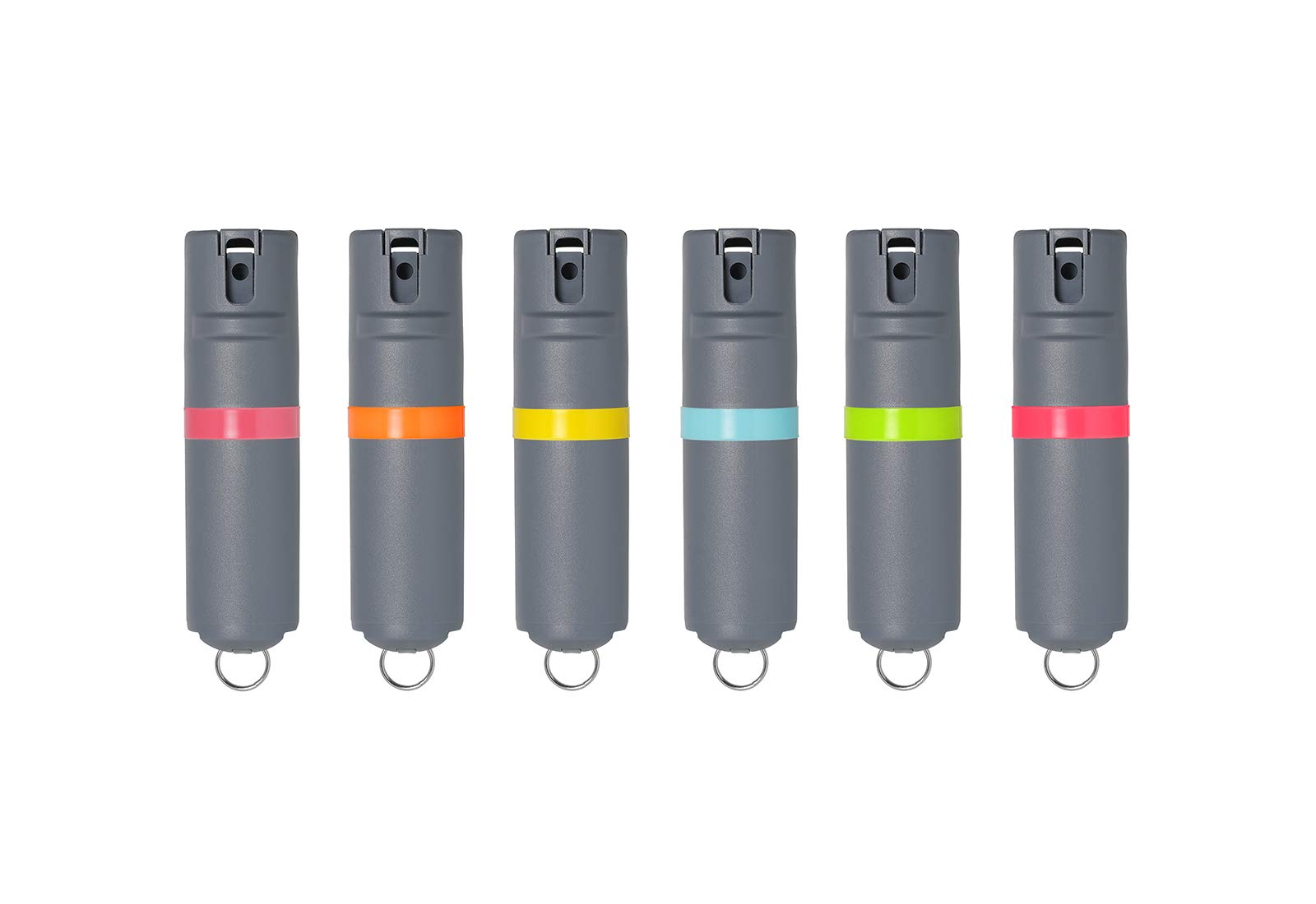 POM 6-Pack Grey Pepper Spray Keychain Model - Maximum Strength Self Defense OC Spray Safety Flip Top 10ft Range Compact Discreet for Keys Backpack Quick Key Release by POM