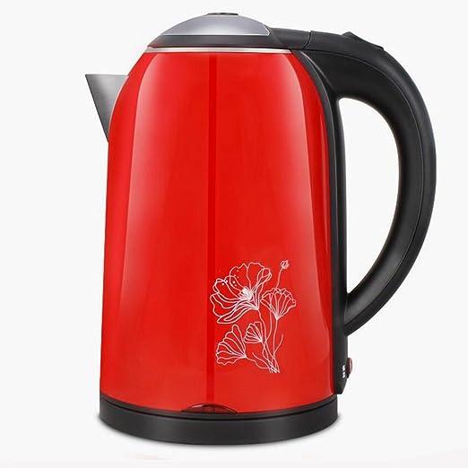 KKY-ENTER Calentador eléctrico casero rojo de la cocina de la caldera eléctrica de la caldera del acero inoxidable 304 de la caldera del aislamiento de la ...