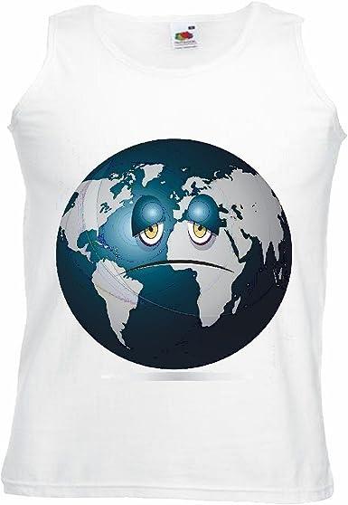 Camisa del músculo Tank Top Planeta Tierra Sonriente Erdball GLOBUS Espacio de la NASA Astronauta ROBÓTICA Manga en Blanco: Amazon.es: Ropa y accesorios