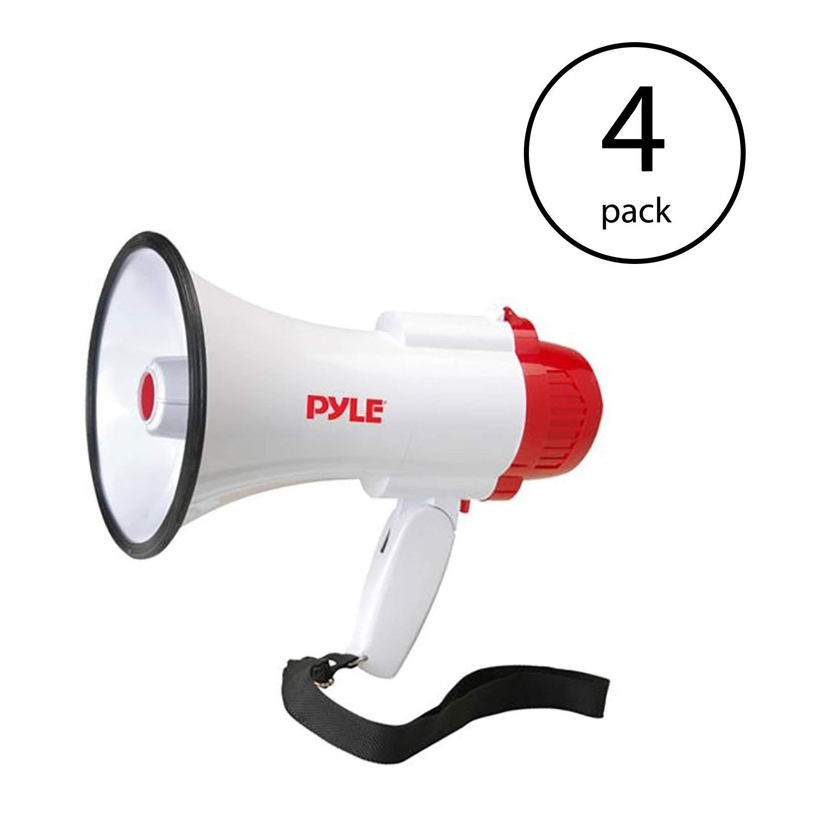 Pyle Pro Handheld Megaphone Bull Horn with Siren and Voice Recorder (4 Pack)