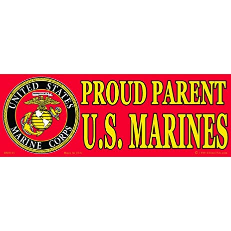 Proud parent of a u s marine bumper sticker 3 1 4quot