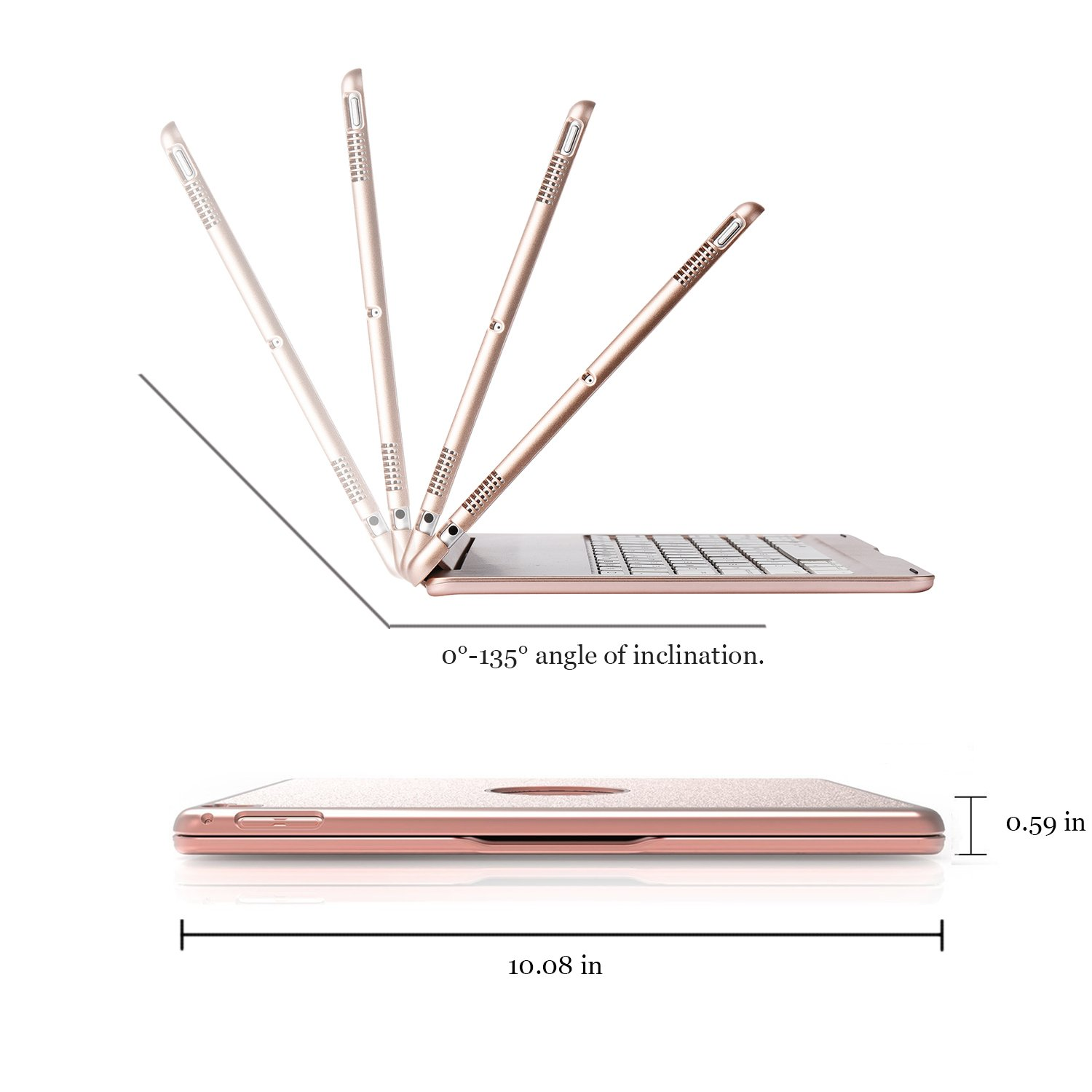 ONHI Bluetooth Wireless Keyboard Case for iPad Pro 10.5 Keyboard Case Aluminum Shell Smart Folio Case with 7 Colors Back-lit, Auto Sleep/Wake,Silent Typing (A1701/A1709)(Rose Gold) by ONHI (Image #4)