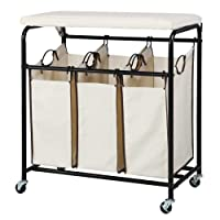 Deals on Yaheetech Heavy Duty 3-Bag Rolling Laundry Hamper Sorter wiBoard