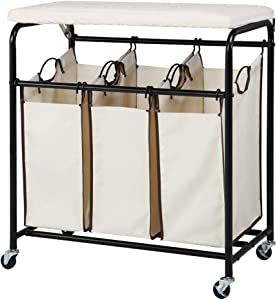 Yaheetech Heavy Duty 3-Bag Rolling Laundry Hamper Sorter with Ironing Board and 4 Wheels Beige