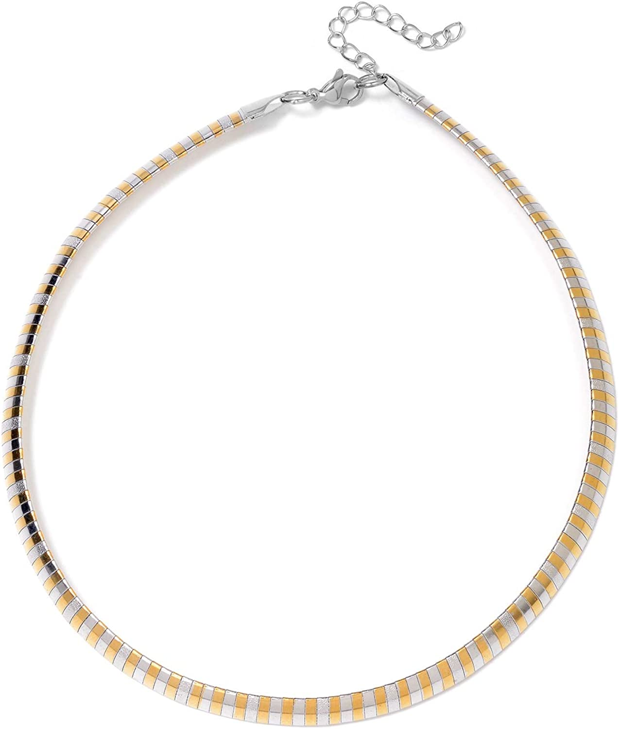 """Shop LC Delivering Joy Stainless Steel Yellow Gold ION Plated Omega Necklace Stylish Jewelry for Women Size 16"""""""