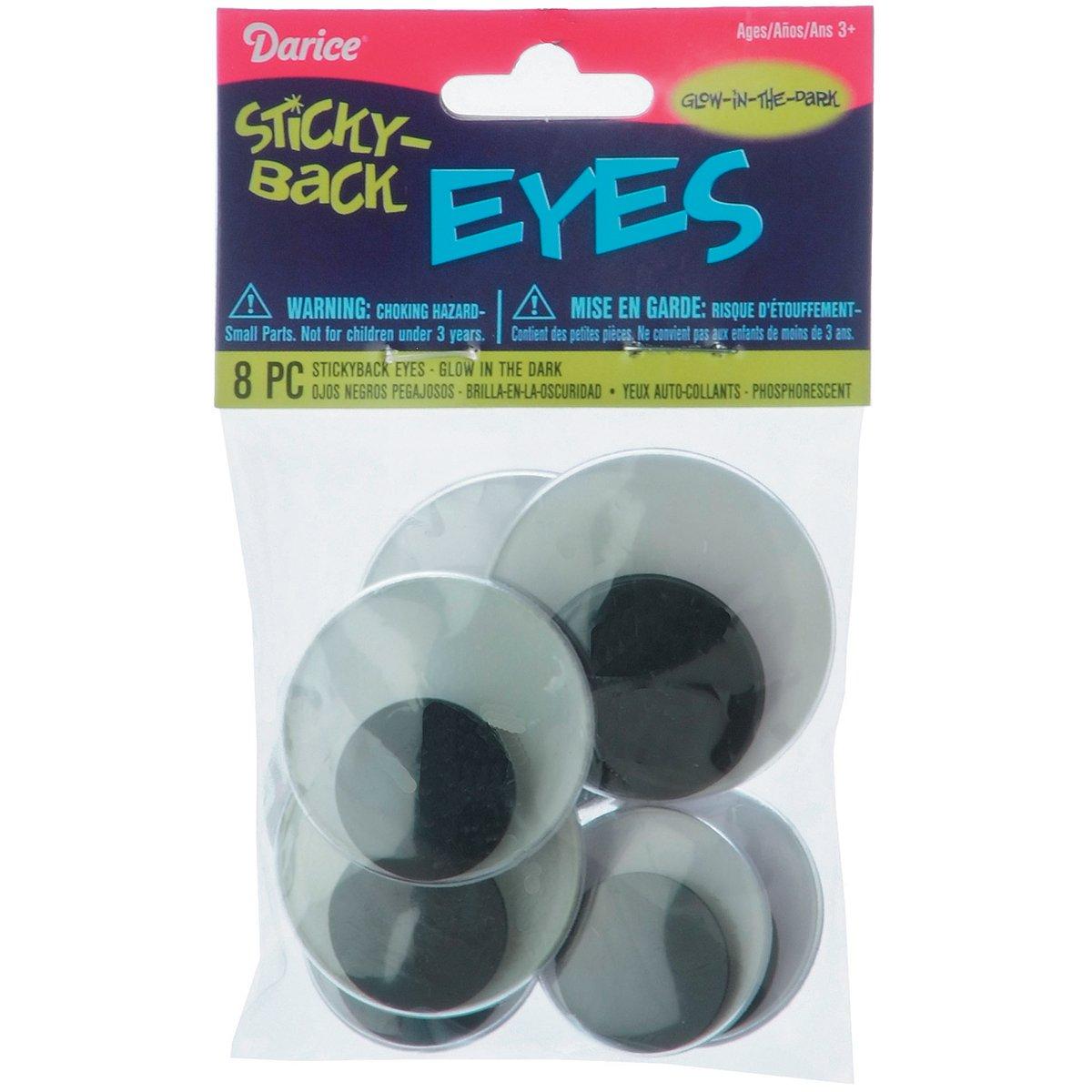 Darice Eye-Glow in The Dark Sticky Back Wiggle Eyes (8 Pack)