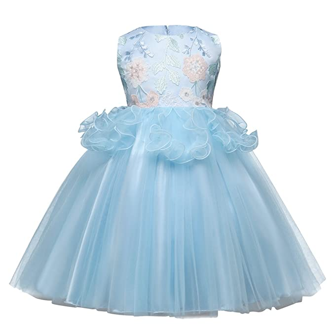 Yiiquanan Vestido Elegante Boda Fiesta con Bordado Floral Sin Mangas Vestidos de Princesa para Niñas (