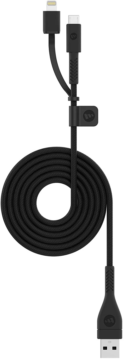 Mophie 1.2 Meter PRO Cable - MFI Certified Switch-Tip Lightning Cable to USB-A to Micro USB Made for Apple, Smartphones, Tablet and All Micro USB Devices - Black