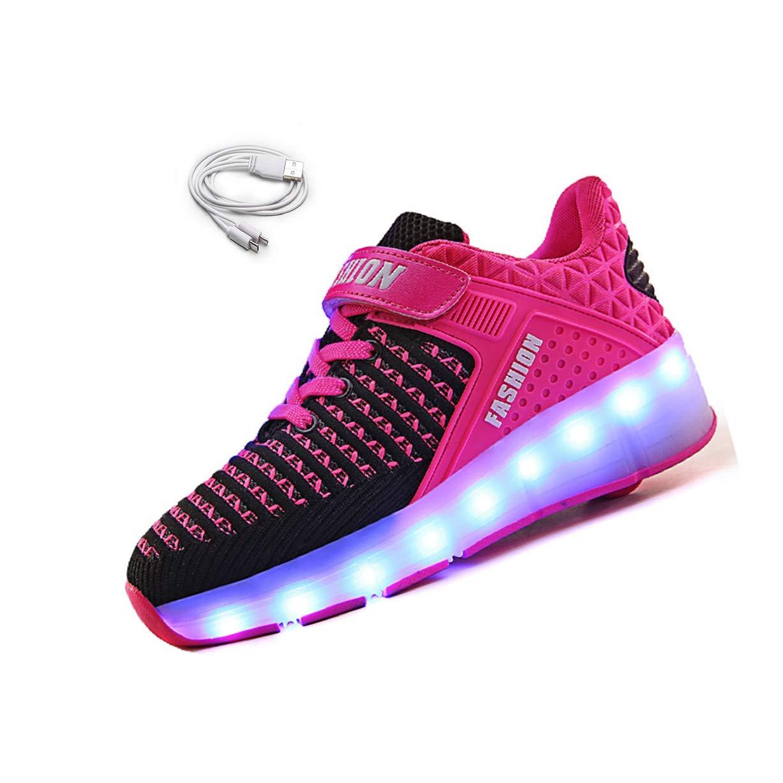 Ehauuo 2 in 1 Unisex Kids LED Single Wheel Shoe Roller Skate USB Charge Light up Sneaker for Boys Girls Gift