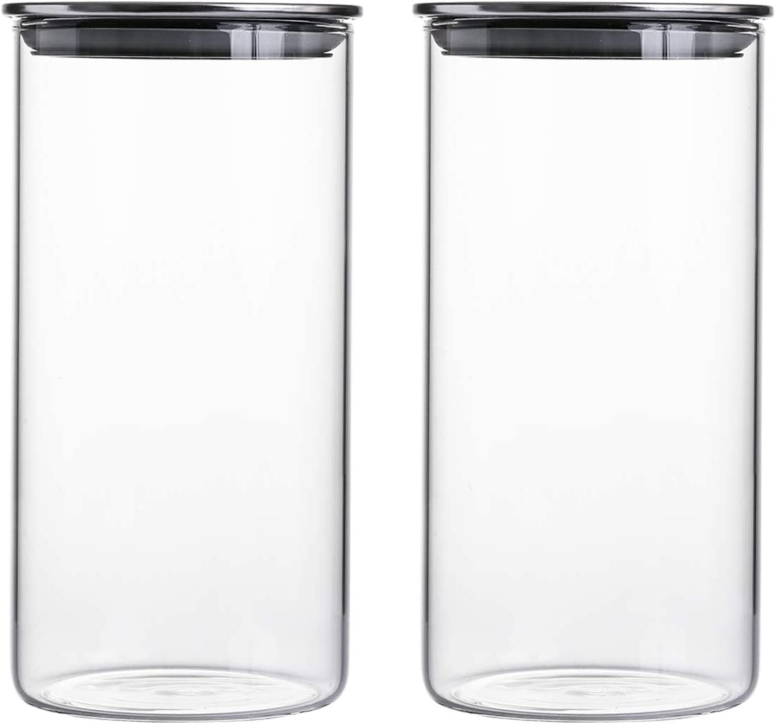 45 FL Ounce Clear Glass Canisters/Jars For Food Storage with Airtight Stainless Steel Lids, 4.15