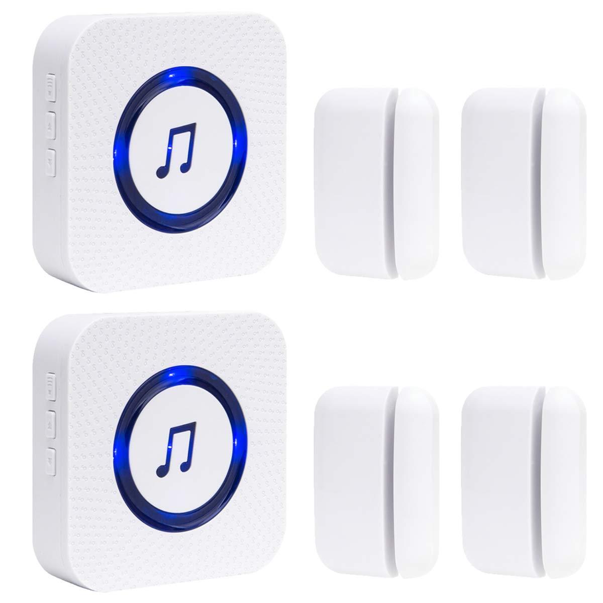 Door Chime for Business Office Store 4 Magnetic Door Sensors 2 Receiver 52 Ringtones 4 Volume Level
