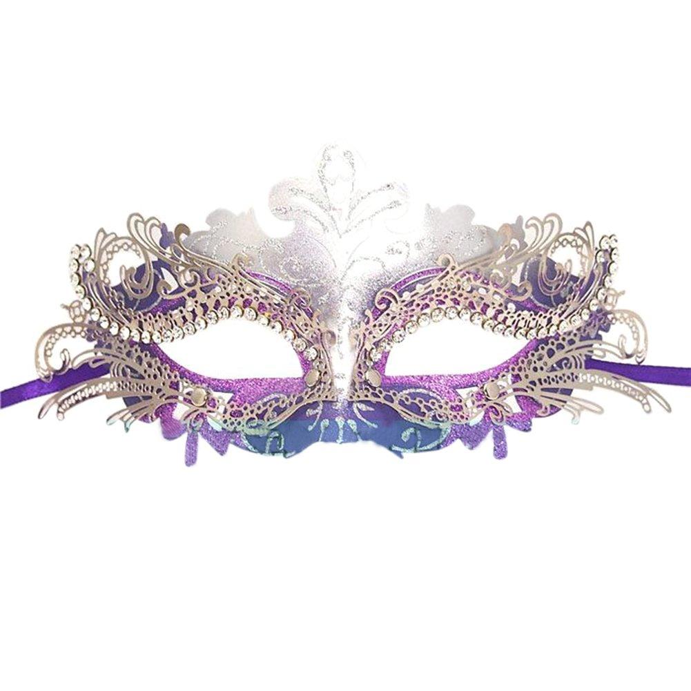 Fellibay Girls Masquerade Mask Venetian Filigree Mask Laser Cut Metal Masquerade for Halloween Costume Party (Purple)