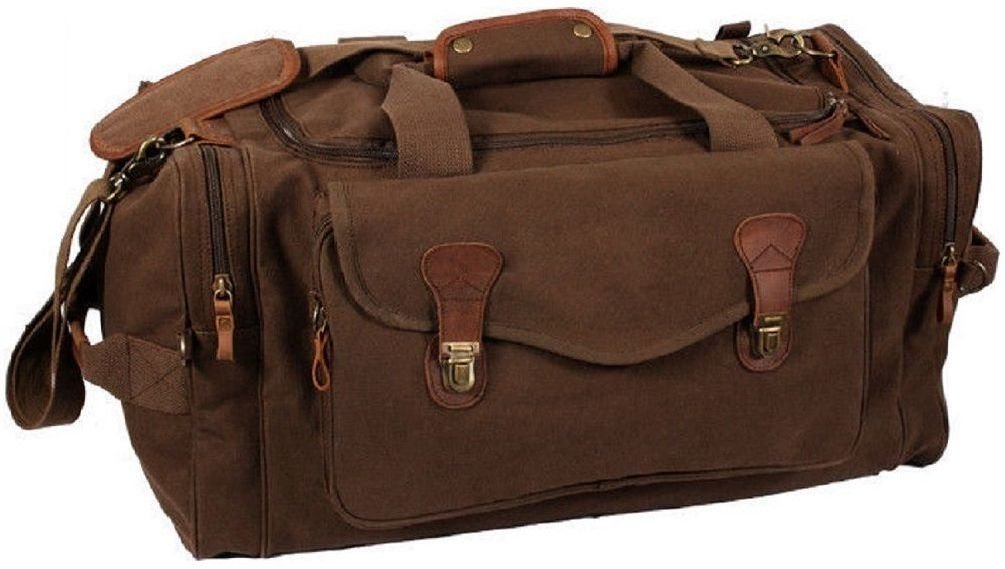 Brown Canvas Leather Accents Luggage Weekend Tactical Travel Bag