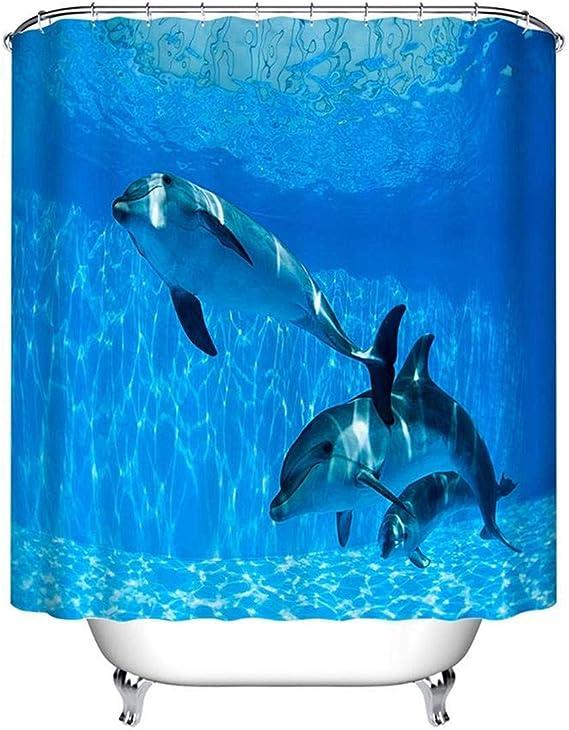 LB Los Delfines Nada bajo el Agua,Cortina de Ducha con Ganchos,150cm x 180cm: Amazon.es: Hogar