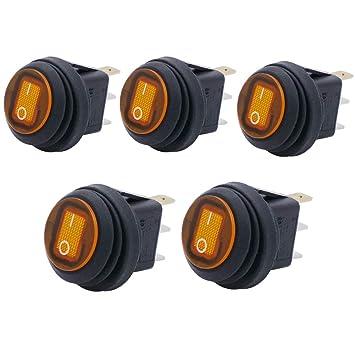 Auto Boot Wippschalter Einbauschalter Orange LED Beleuchtet Wasserdicht 12V//24V
