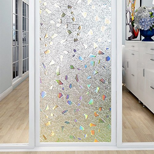 Coavas 3D Window Film Privacy Window Decor Anti-UV Glass Film Colorful Glass Film Transparent Window Film 17.7