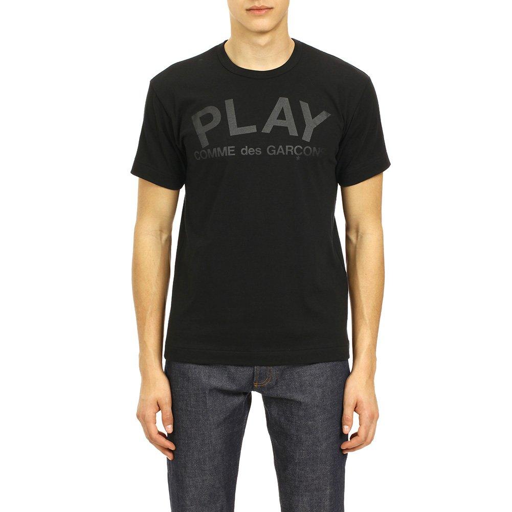 Comme des Garcons Play Men's Play Logo / Flipped Play Logo Print T-Shirt P1T188 Black/Black (S)