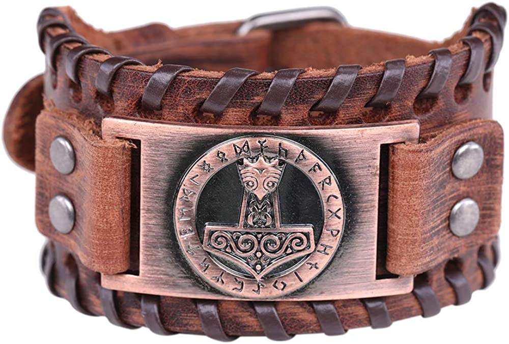 Pulsera con hebilla de cinturón de cuero marrón con diseño de nudo irlandés celta y martillo de Thor: Amazon.es: Joyería
