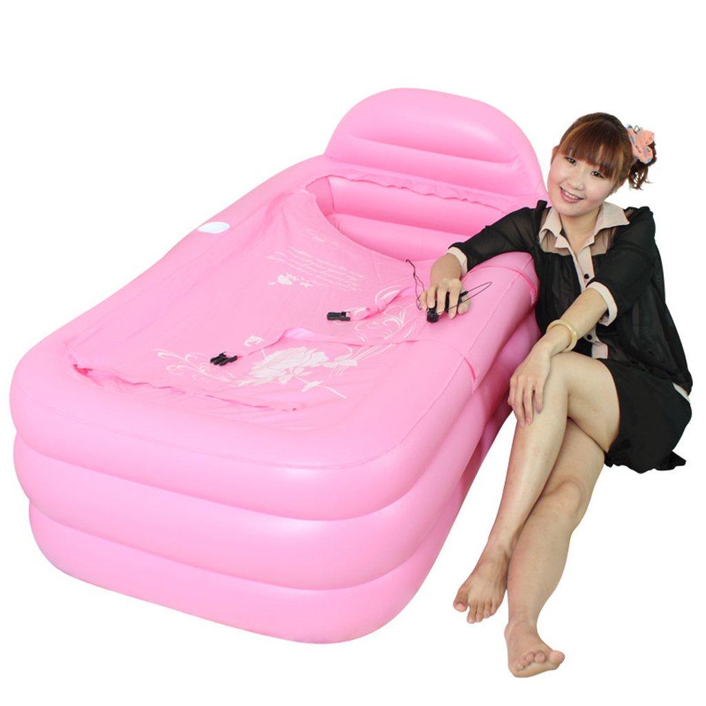 AJZGF Verdickendes aufblasbares aufblasbares faltendes Erwachsenes Bad Badewanne (Farbe   Ölue Pump)